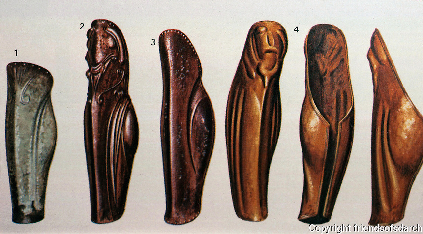 "Greek Arms:  Evolution of Greave from late 7th C. to ""late archaic"" (late 6th C. ?)  Greaves--armor that protects the legs."