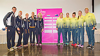 April 17, 2015, Netherlands, Den Bosch, Maaspoort, Fedcup Netherlands-Australia, Draw, Dutch team (L) and Australian team<br /> Photo: Tennisimages/Henk Koster