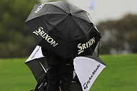 Rain protection at the 10th tee during Round 4 of the Challenge Tour Grand Final 2019 at Club de Golf Alcanada, Port d'Alcúdia, Mallorca, Spain on Sunday 10th November 2019.<br /> Picture:  Thos Caffrey / Golffile<br /> <br /> All photo usage must carry mandatory copyright credit (© Golffile | Thos Caffrey)