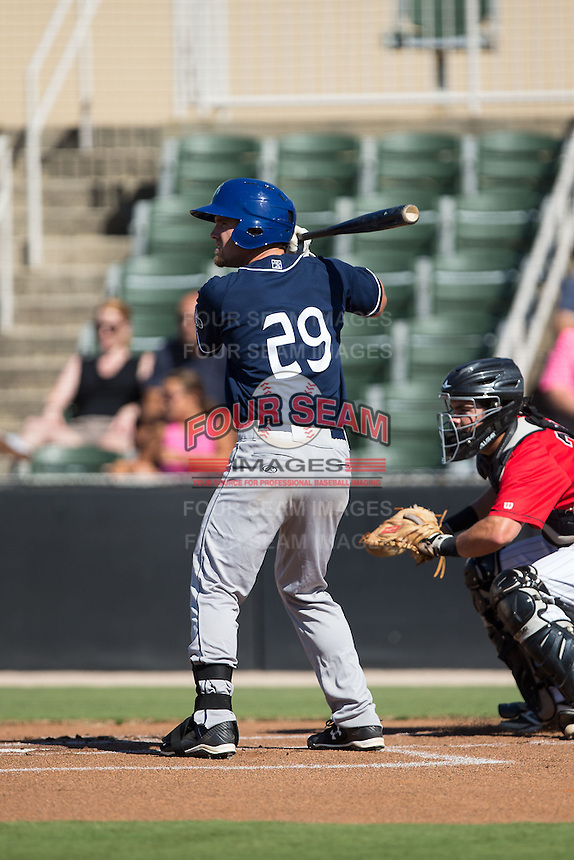 Shane Hoelscher (29) of the Asheville Tourists at bat against the Kannapolis Intimidators at Intimidators Stadium on June 28, 2015 in Kannapolis, North Carolina.  The Tourists defeated the Intimidators 6-4.  (Brian Westerholt/Four Seam Images)