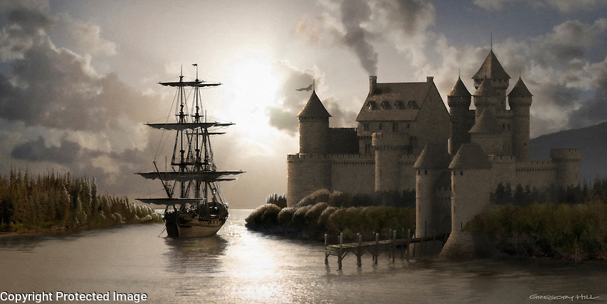 This is a personal project; a sailing ship sits in the river by a castle, ready to set sail.