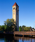 Spokane, WA<br /> The Riverfront Park Clocktower and bridge over the Spokane River