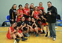 The Waikato team celebrates winning the 2017 Under-23 National Basketball Championship final between Waikato and Tauranga at Te Rauparaha Arena in Porirua, New Zealand on Saturday, 5 August 2017. Photo: Dave Lintott / lintottphoto.co.nz
