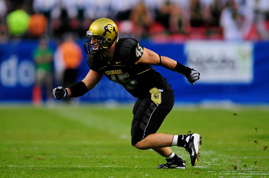 31 Aug 2008: Colorado linebacker Jeff Smart during a game against Colorado State. The Colorado Buffaloes defeated the Colorado State Rams 38-17 at Invesco Field at Mile High in Denver, Colorado. FOR EDITORIAL USE ONLY