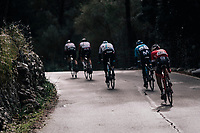 2 dropped riders join the 3 race leaders in the descent of the Coll de Puig Major towards the final climb of the day<br /> <br /> Trofeo Lloseta - Andratx: 140km<br /> 27th Challenge Ciclista Mallorca 2018