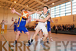 Patrick McCarthy Mounthawk v Sean Nolan Castleisland in the U-19 Munster Basketball final in Monthawk Gym on Monday.