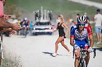 Thibaut Pinot (FRA/Groupama-FDJ) at the gravel section atop the Montée du plateau des Glières (HC/1390m)<br /> <br /> Stage 18 from Méribel to La Roche-sur-Foron (175km)<br /> <br /> 107th Tour de France 2020 (2.UWT)<br /> (the 'postponed edition' held in september)<br /> <br /> ©kramon