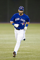 Toronto Blue Jays outfielder Jose Bautista #19 runs the bases after hitting a three run home run in the first inning during an American League game against the Boston Red Sox at Rogers Centre on June 3, 2012 in Toronto, Ontario.  (Mike Janes/Four Seam Images)