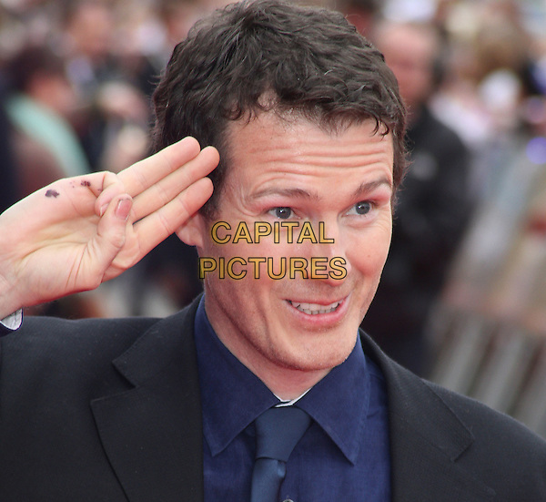 Nick Moran.'Warners Bros Studio Tour - The Making of Harry Potter' Grand Opening at Leavesden Studios, Watford, Hertfordshire, England..March 31st 2012.headshot portrait salute ink dirty suit shirt hand waving black blue  .CAP/ROS.©Steve Ross/Capital Pictures