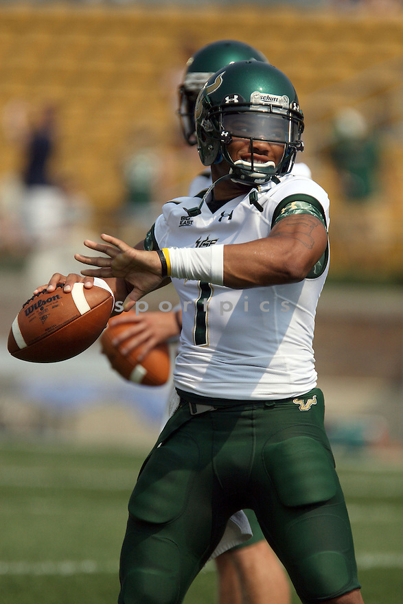 BJ DANIELS, of South Florida, in action during South Florida's game against the University of Notre Dame on September 3, 2011 at Notre Dame Stadium in South Bend, Indiana. South Florida beat Notre Dame 23-20.