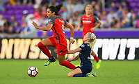 Orlando, FL - Saturday October 14, 2017: Nadia Nadim, Denise O'Sullivan during the NWSL Championship match between the North Carolina Courage and the Portland Thorns FC at Orlando City Stadium.