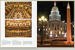The Colorado State Capitol and WWII Memorial at night.<br />