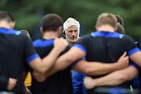 Bath Director of Rugby Todd Blackadder addresses his players in a huddle. Bath Rugby pre-season training session on July 28, 2017 at Farleigh House in Bath, England. Photo by: Patrick Khachfe / Onside Images