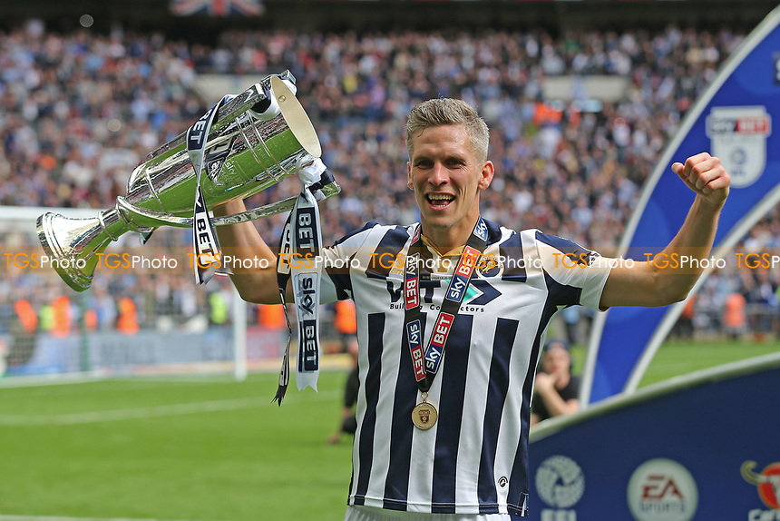 Steve Morison scorer of Millwall's only goal of the match celebrates with the Trophy during Bradford City vs Millwall, Sky Bet EFL League 1 Play-Off Final at Wembley Stadium on 20th May 2017