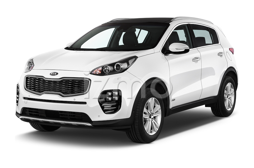 2016 KIA Sportage GT-Line 5 Door Suv Angular Front stock photos of front three quarter view