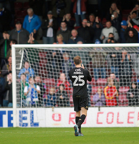 7th October 2017, Glanford Park, Scunthorpe, England; EFL League One football, Scunthorpe versus Wigan; Nick Powell of Wigan Athletic celebrates with the fans at the final whistle after his strike in the 74th minute won the game for Wigan in the 1-2