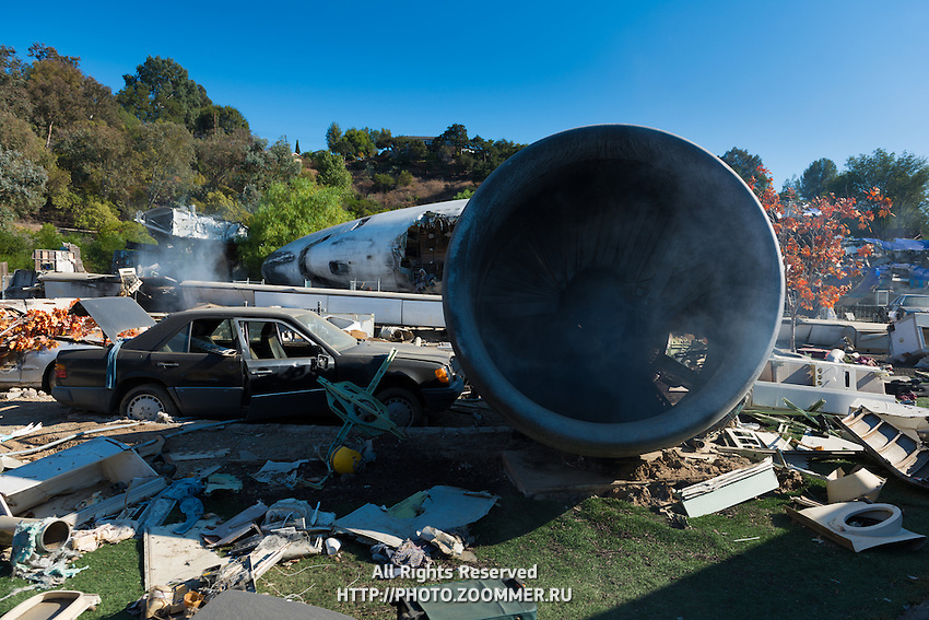 Airplane Crash Site From War of the Worlds Movie In Universal Studios Theme Park, Los Angeles, California