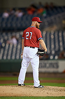Syracuse Chiefs relief pitcher Josh Edgin (27) looks in for the sign during a game against the Buffalo Bisons on September 2, 2018 at NBT Bank Stadium in Syracuse, New York.  Syracuse defeated Buffalo 4-3.  (Mike Janes/Four Seam Images)