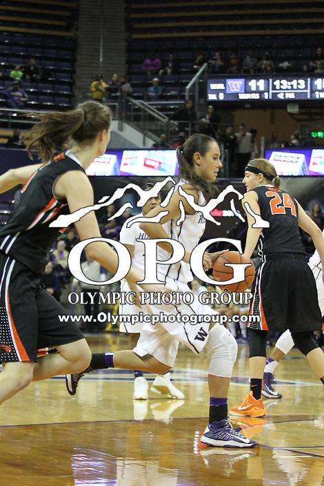 Feb 06, 2015:  Washington's Brianna Ruiz  against Oregon State.  Washington defeated Oregon State 76-67 at Alaska Airlines Arena in Seattle, WA.