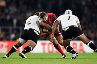 Geoff Parling of England takes on the Fiji defence. Rugby World Cup Pool A match between England and Fiji on September 18, 2015 at Twickenham Stadium in London, England. Photo by: Patrick Khachfe / Onside Images