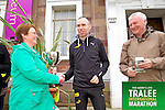 Elma Walsh presenting the Donal Walsh memorial cup to Gary O'Hanlon the Mens winner in the Kerry's Eye Tralee International Marathon on Sunday 16th March 2014.