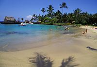 Beach area next to pier in Kailua Kona town