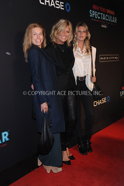 WWW.ACEPIXS.COM<br /> March 26, 2015 New York City<br /> <br /> Theodora Richards, Patti Hansen and Alexandra Richards attending the 2015 New York Spring Spectacular at Radio City Music Hall on March 26, 2015 in New York City.<br /> <br /> Please byline: Kristin Callahan/AcePictures<br /> <br /> ACEPIXS.COM<br /> <br /> Tel: (646) 769 0430<br /> e-mail: info@acepixs.com<br /> web: http://www.acepixs.com