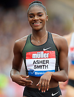 Dina Asher-Smith (Great Britain) after finishing 2nd in the 200m Final during the Muller Grand Prix  IAAF Diamond League meeting at Alexander Stadium, Perry Barr, Birmingham.<br /> Picture by Alan Stanford +44 7915 056117<br /> 18/08/2018