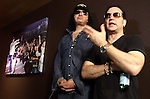 SIOUX FALLS, SD - JULY 20: KISS members Gene Simmons and Eric Singer talk to the media at the Brennan Rock & Roll Academy Saturday afternoon in Sioux Falls.  (Photo by Dave Eggen/Inertia)