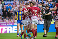 Picture by Allan McKenzie/SWpix.com - 13/07/2017 - Rugby League - Betfred Super League - Wigan Warriors v Warrington Wolves - DW Stadium, Wigan, England - Wigan's John Bateman is congratulated on scoring a try against Warrington.