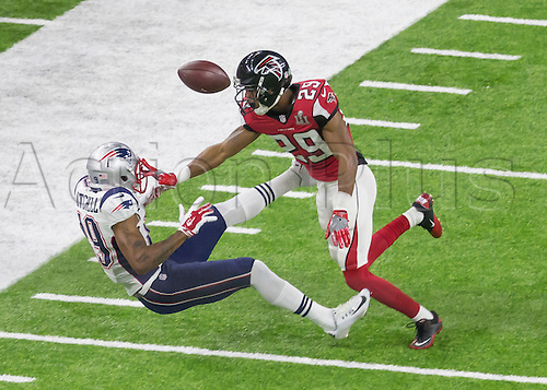 February 5th 2017, Houston, Texas, USA;   Atlanta Falcons cornerback C.J. Goodwin (29) prevents New England Patriots wide receiver Malcolm Mitchell (19) from making a catch during the New England Patriots 34-28 victory over the Atlanta Falcons