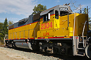 Locomotive, LLPX 2304, on railroad tracks in Whitefield, New Hampshire USA.
