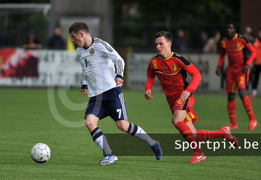Scotland U19 - Belgium U19 : Matthew Kennedy (7) and Birger Verstraete.foto DAVID CATRY / Nikonpro.be