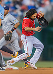 23 July 2016: Washington Nationals infielder Anthony Rendon looses his helmet on a play against the San Diego Padres at Nationals Park in Washington, DC. The Nationals defeated the Padres 3-2 to tie their series at one game apiece. Mandatory Credit: Ed Wolfstein Photo *** RAW (NEF) Image File Available ***