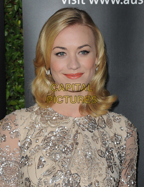 Yvonne Strahosvski.The G'Day USA Australia Week 2012 Black Tie Gala at Hollywood & Highland Grand Ballroom in Hollywood, California, USA..January 14th, 2011.headshot portrait beige silver beads beaded  .CAP/RKE/DVS.©DVS/RockinExposures/Capital Pictures.