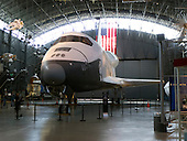 The Space Shuttle Enterprise (OV-101) is displayed at the Smithsonian Institution's National Air and Space Museum's Steven F. Udvar-Hazy Center in Chantilly, Virginia on Saturday, March 17, 2012.  In April, 2012, the Enterprise is scheduled to be moved from Virginia to the Intrepid Museum in New York.  The Space Shuttle Discovery (OV-103) will replace it..Credit: Ron Sachs / CNP