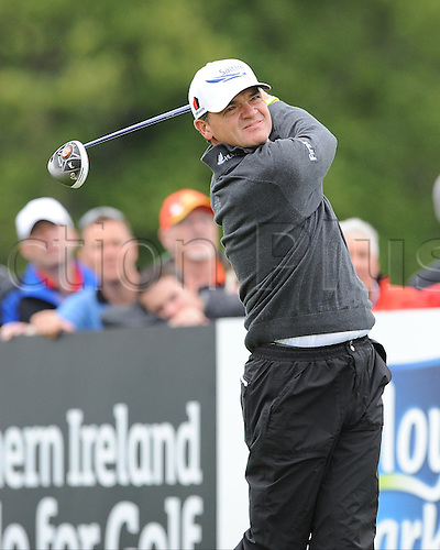 27.06.2013 Maynooth, Ireland. Paul Lawrie drives off the 8th tee during the second round of the Irish Open from Carton House Golf Club
