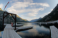 A fisheye lens perspective at dawn, of the northend of Lake Chelan, taken from Stehekin Landing Marina, North Cascades National Park, Washington State