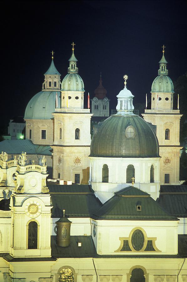Old Town Salzburg at night, Salzburg, Austria