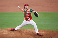 "Palm Beach Cardinals starting pitcher Jake Woodford (33) delivers a pitch during a game against the Charlotte Stone Crabs on July 22, 2017 at Roger Dean Stadium in Palm Beach, Florida.  The Cardinals wore special ""Ugly Sweater"" jerseys for Christmas in July.  Charlotte defeated Palm Beach 5-2.  (Mike Janes/Four Seam Images)"