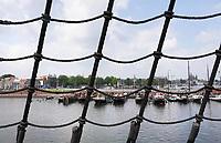 Nederland-  Amsterdam - 2019.  Het Oosterdok gezien vanaf het VOC schip bij het Scheepvaartmuseum.     Foto Berlinda van Dam / Hollandse Hoogte