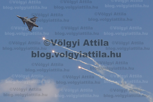 JAS-39 Gripen of the Hungarian Airforce performs during the International Air Show at the Hungarian Air Force base in Kecskemet (about 87 km South-East of the capital city Budapest), Hungary on August 03, 2013. ATTILA VOLGYI
