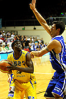 Lemar Gayle tries to shoot past Arthur Trousdell during the NBL Basketball match between Wellington Saints and Otago Nuggets at TSB Bank Arena, Wellington, New Zealand on Sunday, 30 March 2008. Photo: Dave Lintott / lintottphoto.co.nz