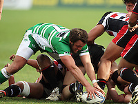 Manawatu openside Doug Tietjens forages for loose ball behind a ruck during the Air NZ Cup rugby match between Manawatu Turbos and Counties-Manukau Steelers at FMG Stadium, Palmerston North, New Zealand on Sunday, 2 August 2009. Photo: Dave Lintott / lintottphoto.co.nz