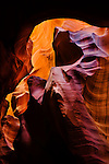 Abstract formation in upper Antelope canyon slot canyon on Navajo land outside of Page, Arizona.