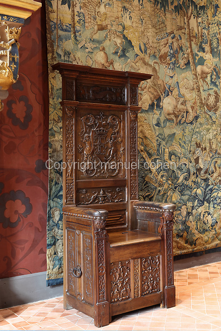 Royal throne in wood carved with the coat of arms of Francois I, 19th century, in the Salle du Roi, or King's Hall, used by Francois I for meals and audiences, on the first floor of the Francois I wing, built early 16th century in Italian Renaissance style, at the Chateau Royal de Blois, built 13th - 17th century in Blois in the Loire Valley, Loir-et-Cher, Centre, France. The hand-painted wallpaper, tiled floor and painted ceiling, were restored by Felix Duban in 1861-66. The chateau has 564 rooms and 75 staircases and is listed as a historic monument and UNESCO World Heritage Site. Picture by Manuel Cohen