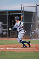 AZL Padres 1 left fielder Greg Lambert (14) starts down the first base line during an Arizona League game against the AZL Padres 2 at Peoria Sports Complex on July 14, 2018 in Peoria, Arizona. The AZL Padres 1 defeated the AZL Padres 2 4-0. (Zachary Lucy/Four Seam Images)