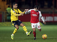 Fleetwood Town's Ross Wallace under pressure from  Oxford United's Jordan Graham<br /> <br /> Photographer Rich Linley/CameraSport<br /> <br /> The EFL Sky Bet League One - Fleetwood Town v Oxford United - Saturday 12th January 2019 - Highbury Stadium - Fleetwood<br /> <br /> World Copyright &copy; 2019 CameraSport. All rights reserved. 43 Linden Ave. Countesthorpe. Leicester. England. LE8 5PG - Tel: +44 (0) 116 277 4147 - admin@camerasport.com - www.camerasport.com