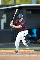 Zack Aigner (14) of Kannapolis Post 115 at bat against Mooresville Post 66 during an American Legion baseball game at Northwest Cabarrus High School on May 30, 2019 in Concord, North Carolina. Mooresville Post 66 defeated Kannapolis Post 115 4-3. (Brian Westerholt/Four Seam Images)