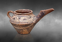 "Early Minoan clay decorated ""teapot"" with elongated spout,  Michlos Cemetery 2600-1900 BC BC, Heraklion Archaeological  Museum, grey background."